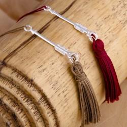 FLECHE - Bracelet flèche en argent avec un pompon