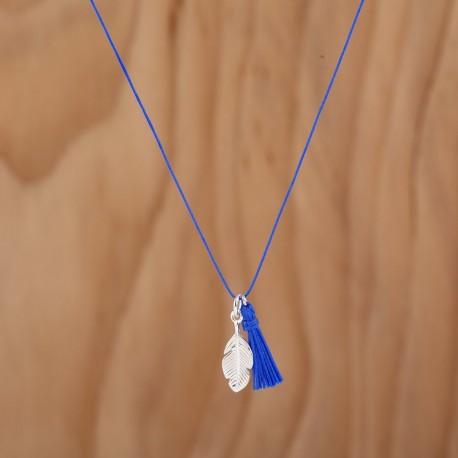 Collier plume et pompon bleu roi