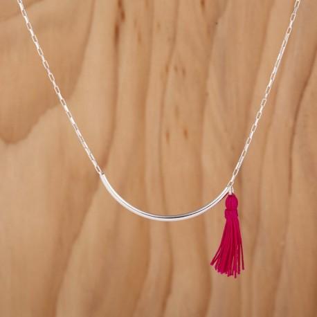 Collier tube chaine en argent pompon fuchsia