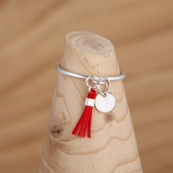 Bague mini médaile en argent et mini pompon rouge