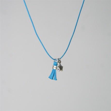 Collier étoile et mini pompon turquoise