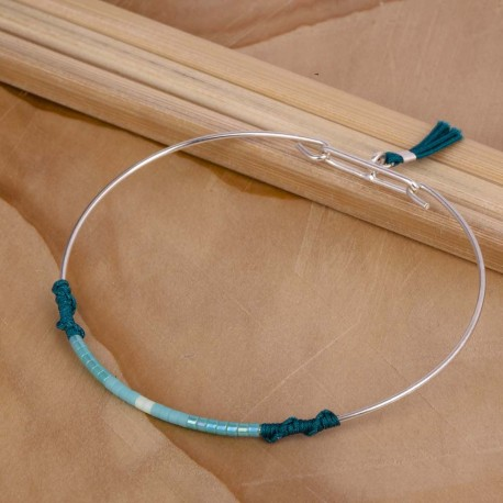 Jonc perle Miyuki et fil de jade vert émeraude