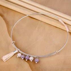 Jonc ressort perle en verre teinté et pompon poudre
